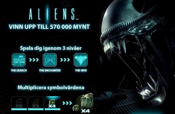 Besök Unibet för att spela dina fem freespins på Aliens