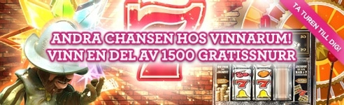 Vinn 500 free spins i andra chansen hos Vinnarum