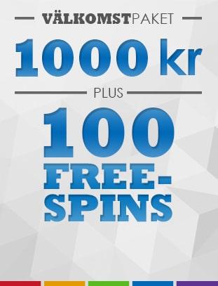 100 free spins I välkomstbonus på slotsmillion casino