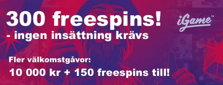 300 freespins hos iGame