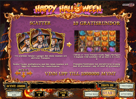 Gå till Unibet och spela Happy Halloween