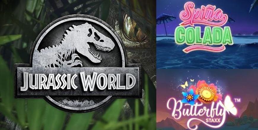 Spiña Colada, Jurassic World och Butterfly Staxx - nya slots i sommar!