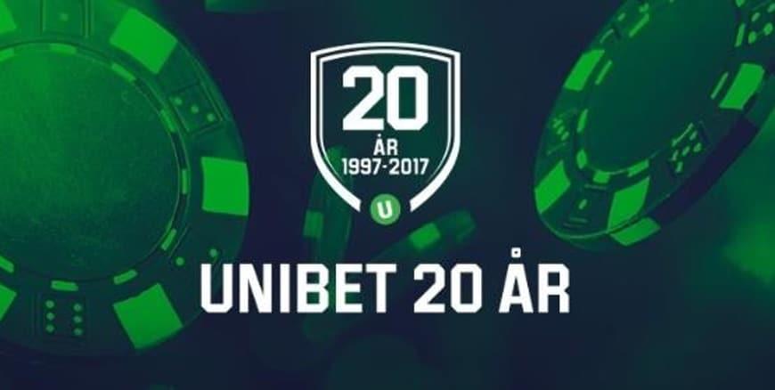 Fira 20 år med Unibet casino och njut av free spins!