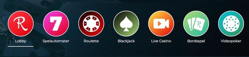 Rolla casino med lättnavigerad meny