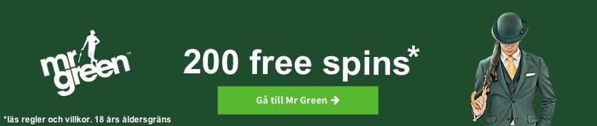 Mr Green omsättningsfria free spins