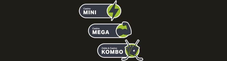 Ny bonus hos ComeOn - Mini, Mega och Kombo