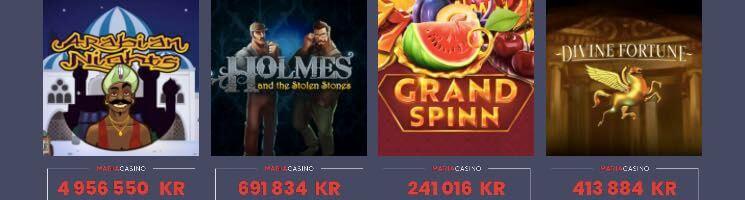 Jämför jackpottar hos Maria casino