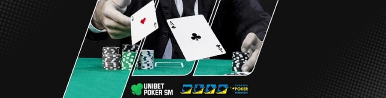 Person spelar poker-SM online hos unibet