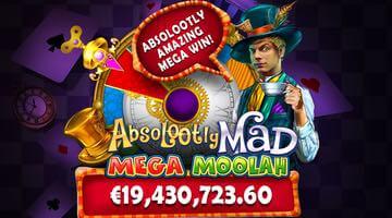 Rekordstor jackpott har delats ut på Absolootly Mad Mega Moolah