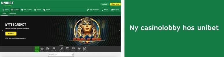 Ny casinolobby hos Unibet