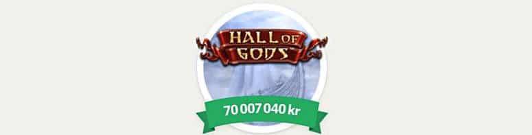 70 miljoner i jackpotten på Hall of Gods