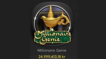 Logga för spelet Millionaire Genie och aktuell jackpottsemma.
