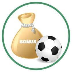 Fotboll och en guldsäck innehållande en välkomstbonus på odds.