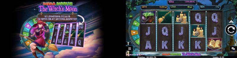 Skärmbilder från nya Mega Moolah The Witch's Moon slot.